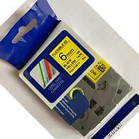 Nhãn in PZe-Fx611 siêu dẻo_Khổ 6mm x 8m _Chữ đen nền vàng/Tương thích dùng cho máy in nhãn  P_Touch Brother
