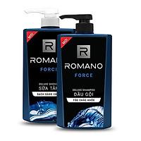 Bộ Dầu Gội và Sữa Tắm cho nam Romano Force (650ml*2) +Tặng 5 gói dâu gội Romano