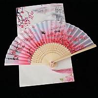 Quạt xếp cầm tay chiết nhan hồng nan 21cm dây tuyến cổ trang phong cách Trung Quốc tặng ảnh Vcone