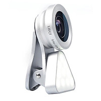 3-in-1 Clip-on Smartphone Fill Light & Phone Camera Lens Kit Including LED Fill Light & 0.4X-0.6X Wide Angle Lens & 15X