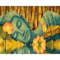 Tranh sơn dầu số hoá tự vẽ - Đức Phật và hoa sen SDDP01232