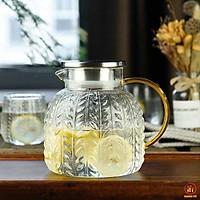 Bình trà thủy tinh nắp in nốc chịu nhiệt 400*độ c hàng cao cấp 1,3 lít