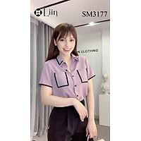 Áo sơ mi Cộc Tay Khoai Môn phối túi chất mát LINBI SM3117