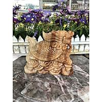 Tượng Long Quy ( Rùa đầu Rồng ) đứng trên thỏi vàng phong thủy đá cẩm thạch vân gỗ - Dài 15 cm