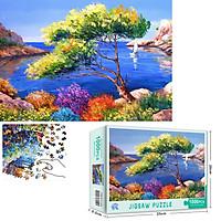 Bộ Tranh Ghép Xếp Hình 1000 Pcs Jigsaw Puzzle (Tranh ghép 70*50cm) Biển Và Cây Xanh Bản Thú Vị Cao Cấp