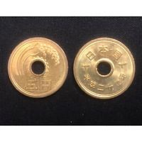 Xu 5 yên Nhật Bản Mới, Đẹp như hình, một trong những đồng xu mang lại may mắn