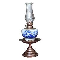 Đèn thờ dầu men lam vẽ Sơn Thủy chân đồng thấp gốm sứ Bát Tràng (đèn dầu, đèn thờ cúng)