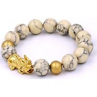 Vòng tay phong thủy Tỳ hưu inox vàng - Chuỗi đá san hô sọc 12 ly VSHSTHHBV12