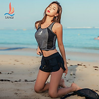 Sanqi (SANQI) split swimsuit female Jingdong self-operated boxer sexy new super fairy large size thin cover belly conservative hot spring swimsuit 19050 black XL