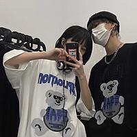 Men Women T-shirt Trendy Hip-hop Sunglasses Bear Print Short-sleeved Crew-neck Loose Couple T-shirt