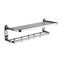 Bath Towel Rack Foldable 23 Inch Bathroom Shelves with 5 Removable Hooks Wall Mounted Drilling Towel Holder with Towel