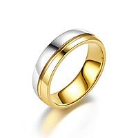 Nhẫn nam nữ titan không rỉ vòng đôi bạc vàng phong cách