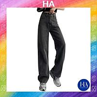 Quần Jean Nữ Ống Rộng H&A Fashion Lưng Cao 2 Nút Màu Xám Trơn TBQBB07