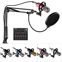 Professional Broadcasting Studio Recording Condenser Microphone Kit with External Sound Card + Mic Windscreen + Shock