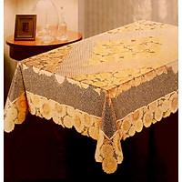 Khăn Trải Bàn PAULEE - FY 105K hoa văn phun nhũ cúc vàng (150 x 230 cm)
