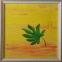 Tranh sơn dầu vẽ tay lá rừng nhiệt đới 02
