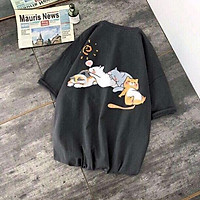 Áo thun tay lỡ 4 mèo ngủ (unisex nam nữ đều mặc được)