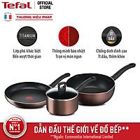 Combo Chảo chiên Tefal Day By Day G1430405 24cm & Nồi cán dài/ quánh G1432305 18cm & Chảo chiên sâu lồng G1436405 24cm - Dùng mọi loại bếp - Chấm đỏ báo nhiệt thông minh - Hàng chính hãng