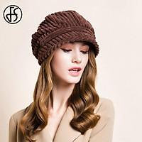 FS Trắng Mũ Nồi Nắp Mùa Thu Đông Nữ Đi Hình Bát Giác Nón Nữ Nón Kết Thời Trang Ren Định Vintage Nâu Đen Mũ Nồi