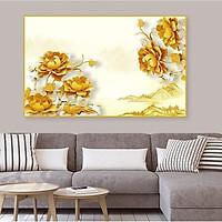 Tranh Treo Tường Hoa Mẫu Đơn Vàng Và Phong Cảnh