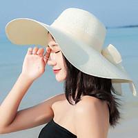 Mũ cói rộng vành thắt nơ phong cách Hàn, nón đi biển rộng vành