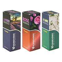 Combo 3 loại Tinh dầu: Hoa Lavender, Hoa Lài và Hoa Hồng - Essenbee (20ml/chai)