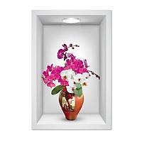 Tranh dán tường ô 3D lọ hoa đẹp 003 KT 40 x 60 cm
