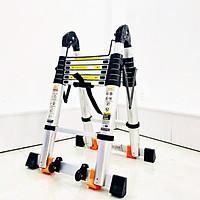 Thang nhôm rút chữ A Sumika SK 440D (2.2M+2.2M) - duỗi thẳng cao 4.4m, 8 đế cao su chống trượt, có bánh xe kéo, khóa chốt cao cấp, bậc thang thiết kế chống trượt, thanh giằng giữa 2 bên thang