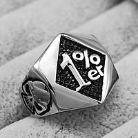 Mens Stainless Steel 1%er Skull Ring Band Fashion Gothic Biker Punk Rock
