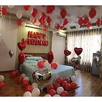 Set bóng trang trí phòng cưới phòng tân hôn tông trắng, đỏ đẹp