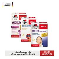 Combo chống lão hóa, cân bằng nội tiết tố và bổ tim Doppelherz Belle Anti Aging + Aktiv Meno + Coenzyme Q10 (03 hộp 30 viên)