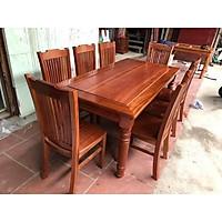 Bộ bàn ăn gỗ xoan đào 6 ghế mặt đặc xuất khẩu