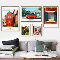 Bộ 5 tranh canvas treo tường Decor phong cảnh kiến trúc, tông đỏ, phong cách hiện đại - DC079