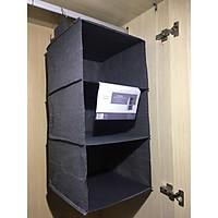 Tủ vải treo quần áo 3 tầng tiện gọn dễ tìm hàng Việt Nam cao cấp chất vải oxford 300d (Shelf Hanging Storage) - Màu Ghi
