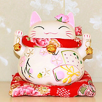 Mèo thần tài Nhật bản màu hồng Giơ 2 tay - Phúc Lộc 14cm