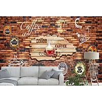 Tranh dán tường 3d trang trí quán cà phê - ép lụa kim sa - có sẵn keo TC10