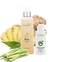 Combo tiết kiệm - Dầu massage body, dầu mát xa thư giãn B6 200ml và Gel rửa tay khô kháng khuẩn 80ml BIYOKEA