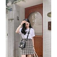 Bộ Chân Váy Kẻ Áo Phông FASHION Set Chân Váy Chữ A Kèm Áo Thun Nữ X018 - ️Mix đồ đi chơi, dạo phố, mặc ở nhà đi học đều xinh  ️- Freesize 38- 60kg đẹp