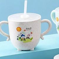 Ly / Cốc tập uống nước cho bé lúa mạch 270ml có ống hút, có nắp đậy, có 2 quai cầm tiện lợi cho bé ( Tặng 01 cọ vệ sinh ống hút )