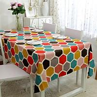 Khăn trải bàn vải bố - Lục giác màu sắc - mẫu N09