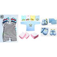 combo 5 bộ bodysuit + 20 khăn sữa + 2 giày tập đi + 5 áo màu dài tay_tặng nhiệt độ cho bé