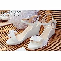 Giày cưới Nghé Art xuồng đính nơ trắng 329