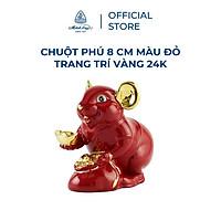 Tượng chuột sứ Minh Long 8 cm - màu đỏ - trang trí vàng 24K (tượng chuột Phú)
