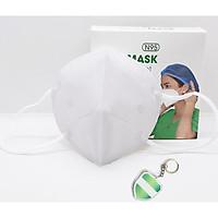 Hộp ( 10 cái ) Khẩu trang N95 Pro Mask vải không dệt , chống bụi siêu mịn pm2.5 ,  màu trắng , tặng móc treo khóa mica