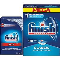 Viên rửa bát Finish 120 viên + Muối Finish 1.5kg dùng cho Máy Rửa Bát Chén