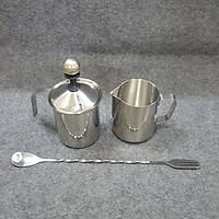 Combo 3 dụng cụ Inox đánh sữa tạo bọt - Ca Inox 350ml