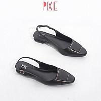 Giày Búp Bê 2cm Hở Gót Mũi Vuông Khóa Vuông Pixie X450