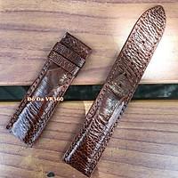 Dây đồng hồ da đà điểu khâu tay thủ công, chất liệu cao cấp 2 mặt (Nâu cà phê)