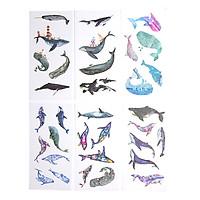 Sticker Dán Trang Trí ( Bộ 6 Tấm ) -  Whale