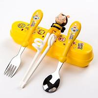 [Dụng cụ tập ăn] Set tập ăn 3 món (Thìa, Dĩa, Đũa xỏ ngón) inox kèm hộp đựng cho bé